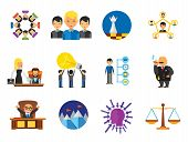 Business Icon Set. Team Structure Common Idea Director Executive Manager Rich Person Team Time Manag poster