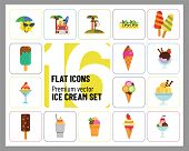 Ice Cream Icon Set. Cart Ice Cream On Stick Ice Cream Balls Glass Bowl Soft Dessert Disposable Cup W poster