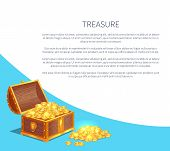 Treasure Poster With Shiny Gold Ancient Coins In Old Open Wooden Chest. Precious Treasures In Heavy  poster