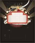 stock photo of marquee  - Theatre marquee with movie theme objects - JPG
