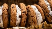 Ice Cream Sandwiches With Chocolate Chip Cookies Overhead Shot poster