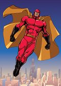 Full Length Illustration Of Powerful Superhero Looking Down While Soaring In The Sky Above Big City. poster