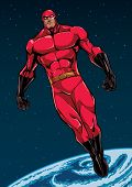 Full Length Illustration Of Powerful Superhero Looking Down While Soaring In The Outer Space. poster