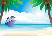 picture of tropical island  - Bon Voyage Vacation vector illustration layers file - JPG