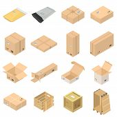 Parcel Packaging Delivery Box Poste Icons Set. Isometric Illustration Of 16 Parcel Packaging Deliver poster