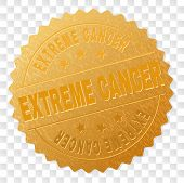 Extreme Cancer Gold Stamp Medallion. Vector Golden Award Of Extreme Cancer Text. Text Labels Are Pla poster