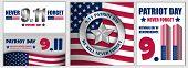 Patriot Day September 11 Banner Concept Set. Flat Illustration Of 3 Patriot Day September 11 Banner  poster