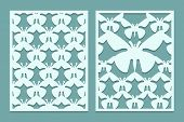 Die And Laser Cut Ornate Lace Panels Patterns With Butterflies. Set Of Bookmarks Templates. Cabinet poster