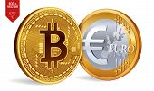 Bitcoin. Euro Coin. 3d Isometric Physical Coins. Digital Currency. Cryptocurrency. Golden Coins With poster