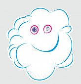Smiling Cloud.  Smiling  Cloud Illustration. Happy Smiling Cloud In The Grey Background. poster