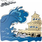 Earthquake generating tsunami.  Tsunami coming to manor from the ocean. illustration of natural disasters and big waves.