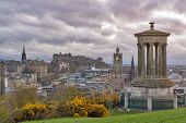 Cityscape View Of The Old Town District Of Edinburgh City From The Hilltop Of Calton Hill In Central poster