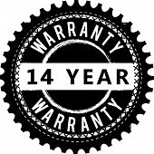 14 Years Warranty Icon Stamp Badge Icon Guarantee poster