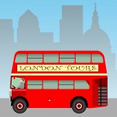 Постер, плакат: Красный Лондон верхом автобус