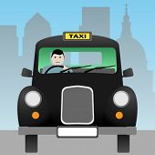 picture of hackney  - A Black London Taxi Cab - JPG