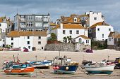 image of st ives  - St Ives beach on the coast of Cornwall in England - JPG