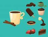 Chocolate Various Tasty Sweets And Candies. Sweet Brown Delicious Gourmet Sugar. Cocoa Snack Vector  poster