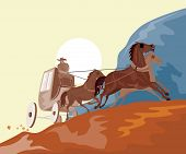 foto of stagecoach  - Vector art of a Stagecoach traveling in the mountains - JPG