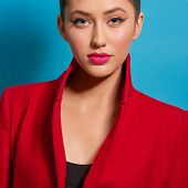 Contrast Portrait Of Beatiful Girl Wearing Red Coat Bright Make Up. Pink Plump Lips, Pale Cheeks, Pe poster