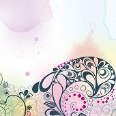 Colourful background done in watercolours and hand-drawn floral decorative elements. Vector illustra