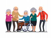 Cartoon Old People. Happy Aged Citizens, Disabled Senior On Older Wheelchair And Care Seniors Smilin poster