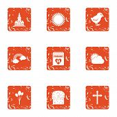 Scorching Icons Set. Grunge Set Of 9 Scorching Vector Icons For Web Isolated On White Background poster
