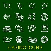 Casino Gambling And Poker Vector Thin Line Icons Vector Jackpot And Bingo Symbols Of Dice, Playing C poster