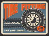 Car Auto Service Or Tire Fitting Station Retro Poster. Vector Vintage Design Of Tire Track Of Car Li poster