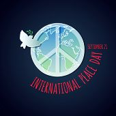 Vector Peace Dove With Olive Branch And Peace Symbol For International Peace Day Poster. poster