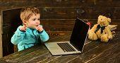 Genius Kid. Genius Child With Laptop. Genius Boy With Computer. Genius Technology For Future. Point  poster