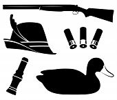 Hunting Set Vector Illustration. Duck Hunting. Shotgun, Duck Call, Decoys, Hat And Shell poster