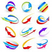 stock photo of arrow  - Collection of colour arrows - JPG