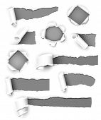 stock photo of ripped  - Collection of gray paper - JPG