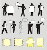 pic of sign board  - pictograms of people holding blank boards - JPG