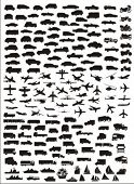 vector silhouettes of various vehicles - useful collection