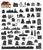 image of outhouses  - vector collection of various buildings - JPG