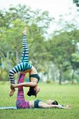 Side View Of Young Female Acroyogis Practicing One Legged Bridge Pose Lying On Grass In Park, Base S poster
