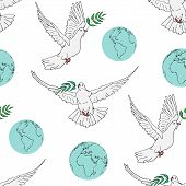 Seamless Background Concept For International Peace Day. Peaceful Pigeon With An Olive Branch And Pl poster