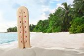 Thermometer showing high temperature on tropical beach. Hot summer weather poster