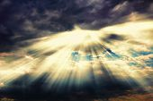 Dramatic Sky Cloudscape After Thunderstorm With Sunshine Nimbus. Rays Of Sunlight Coming Through Clo poster