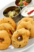 pic of urad  - vada is donut, made with urad dal flour, indian snack food