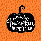 Cutest Pumpkin In The Patch. Cute Halloween Party Card, Invitation With Hand Drawn Silhouette Of Pum poster