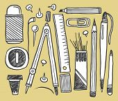 Hand-drawn stationery collection. Vector illustration.