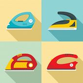 Smoothing Iron Drag Appliance Icons Set. Flat Illustration Of 4 Smoothing Iron Drag Appliance Vector poster