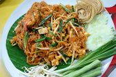 stock photo of thai food  - Pad thai is Thai food and favor food on banan leaf dish - JPG