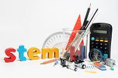 Equipment Of Stem Education, Science, Technology, Engineering, Mathematics. Stem Education Concept I poster