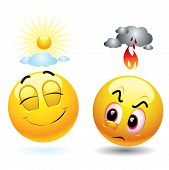 stock photo of angry smiley  - Angry with black cloud and fire over its head and satisfied smiling ball  with sunshine over its head - JPG