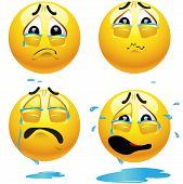 stock photo of moaning  - Sad smiling balls crying and pouring tears - JPG