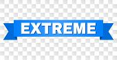 Extreme Text On A Ribbon. Designed With White Title And Blue Stripe. Vector Banner With Extreme Tag  poster