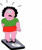 stock photo of fat woman  - Fat lady at the balance has to lose weight - JPG